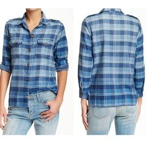 Current/Elliot Plaid Denim Button Up Shirt